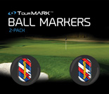 Captain Thunderbolt USA pattern ball markers for TourMARK standard size putter grips