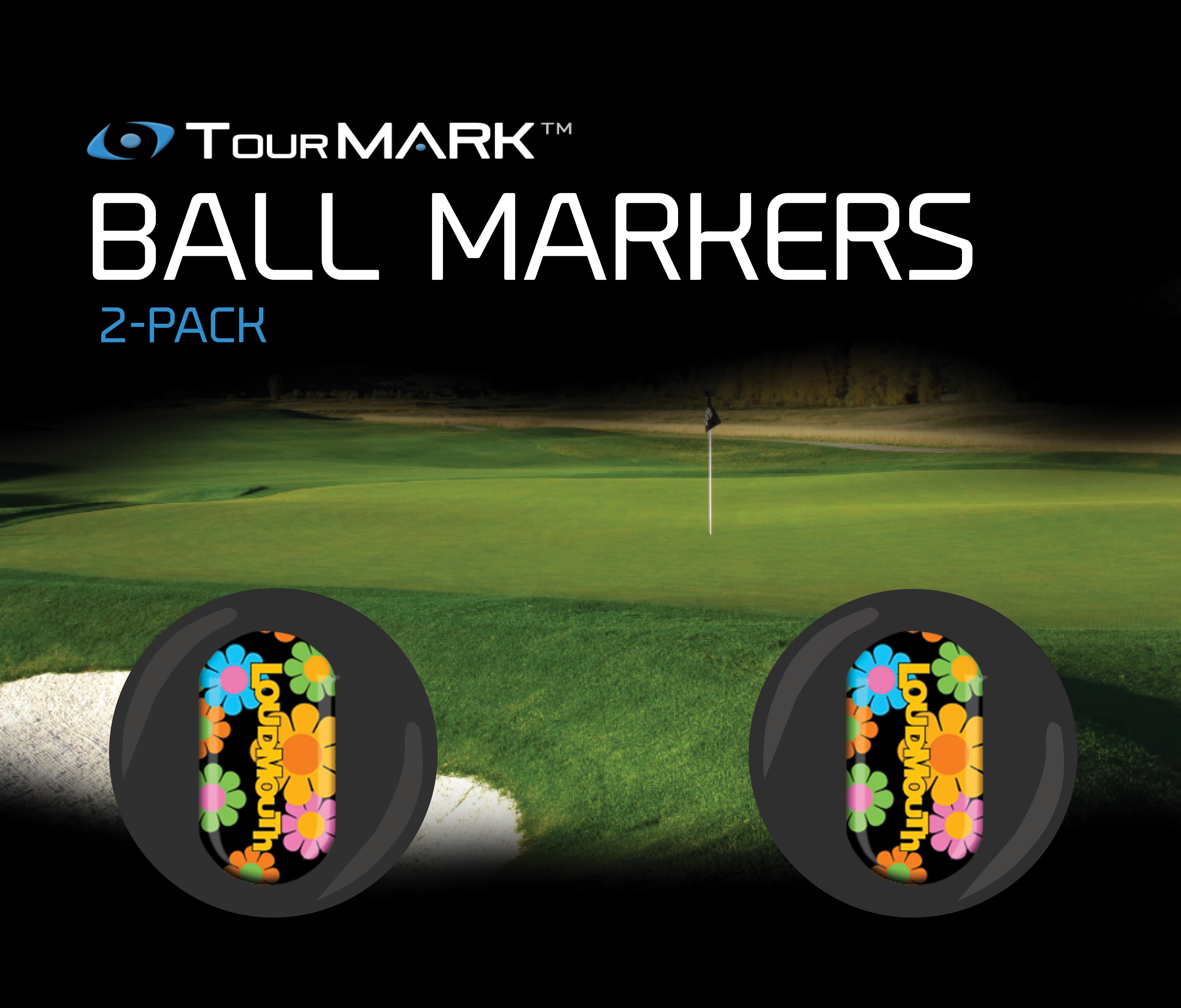 Magic Bus pattern ball markers for TourMARK standard putter grips